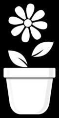 Blumentopf mit Blume - Blumentopf, Topf, Blume, Blatt, Blüte, bepflanzen, anpflanzen, pflanzen, Umrisszeichnung, Umriss, Illustration