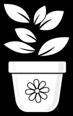 Blumentopf mit Pflanze - Blumentopf, Topf, Pflanze, Blatt, bepflanzen, anpflanzen, pflanzen, Umrisszeichnung, Umriss, Illustration