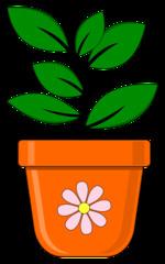 Blumentopf mit Pflanze - Blumentopf, Topf, Pflanze, Grünpflanze Blatt, bepflanzen, anpflanzen, pflanzen, Illustration