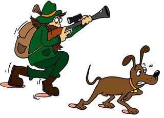 Jäger und Hund - Hund, Jagdhund, Vorsteher, Jäger, Förster, Jagd, Pirsch, Waidmann, Waidmanns Heil, Wald, Märchen, Erzählanlass, Comic, Illustration, Vorsteher Pose, vorsichtig, leise, Gewehr, Flinte, pirschen, schleichen, nähern