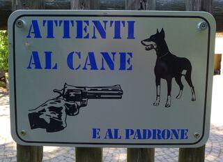 Hinweisschild - Attenti - Hinweis, Vorsicht, Hund, Herrchen, cane, padrone, Hinweisschild
