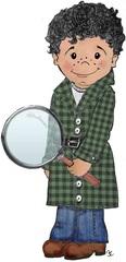 Detektiv - Detektiv, Suchen, Lupe, Spur, Kind, Bub, Bursche, Knabe, Karo, Mantel, Locken, finden, lockig