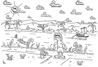 ägyptischer Junge am Nil - Nil, Krokodil, Wüste, Landwirtschaft, Karotte, Karotten, Möhre, Möhren, Wurzel, Wurzeln, Ägypten, Anbau, Bauer, Feld, Felder, Acker, Ackerbau, Bewässerung, Schemu, Peret, Achet, Niljahr, Nahrung, Ernte, Ausmalbild, Cartoon, Illustration, Erzählanlass, schwarzweiß