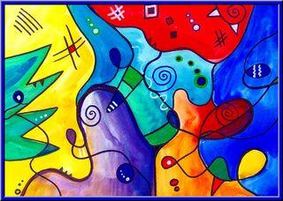 Malen wie Kandinsky - Kandinsky, Bilder, Wasserfarben, Edding, Lineal, Geodreieck