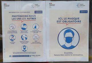 Masque obligatoire - affiche, masque, corona, éternuer, se laver, tousser, se moucher, respecter, distance, serrer la main, virus