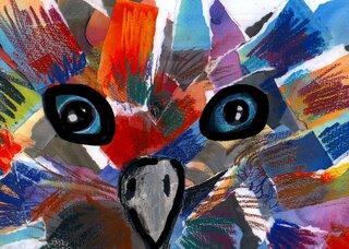 Tieraugen Collage - Collage, reißen, Tieraugen, Wasserfarben, kleben