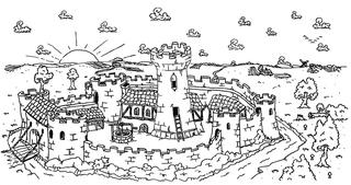mittelalterliche Burg - Burg, Steinburg, Zinne, Zinnen, Wehrgang, Stall, Brunnen, Palas, Bergfried, Turm, Wassergraben, Mauer, Zugbrücke, Torhaus, Brunnen