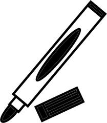 Filzstift schwarz - Filzstift, Filzstifte, Einzahl, Filzer, Stift, malen, ausmalen, zeichnen, rot, schreiben, Anlaut St