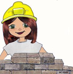 Bauarbeiterin - Mädchen, Baustelle, Mauer, Helm, BauarbeiterIn, MaurerIn, bauen, Helm, Konstruktion, Beruf