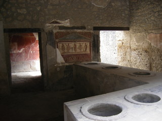 Pompeji - Bar - Antike, Säulen, Ruinen, Italien, Pompeji, alt, Vesuv, Römer, Wandmalerei, Bar