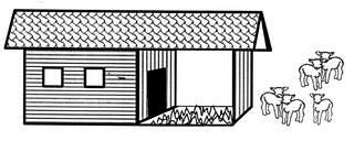 Stall mit Schafen - Stall, Anlaut St, Scheune, Landwirtschaft, Gebäude, Tierbehausung, Stallung