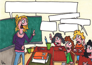 Schulalltag (Blanko) - Schule, Alltag, Lehrerfrage, Unterrichtsgespräch, Sprechanlass, Schreibanlass