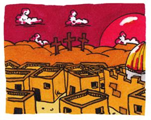 Jerusalem und Golgatha - Jesus, Bibel, NT, Neues Testament, Kreuzigung, Ostern, Jerusalem, Tempel, Kirchengeschichte, Golgota, Golgotha, Golgatha, Jesu, Karfreitag, Bibelgeschichte, Illustration, Comic, comicesk, Würfelhaus, Würfelhäuser, Auferstehung