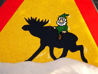 Elchreiter - Wichtel, Elch, Schweden, Verkehr, Verkehrsschild, Winter, Straßenverkehr, StVO, Erzählanlass, Sprechanlass, Geschichte, Erzählung, Fantasie, Elchreiterwichtel, Elchreiter, reiten, Ritt, Skandinavien