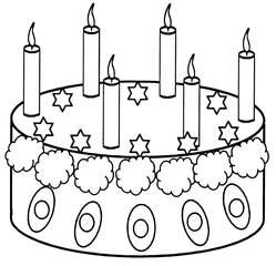 Geburtstagstorte mit sechs Kerzen - Geburtstagstorte, Torte, Geburtstag, feiern, Feste, verzieren, Kerzen, sechs