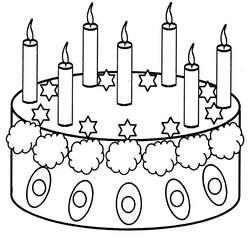 Geburtstagstorte mit sieben Kerzen - Geburtstagstorte, Torte, Geburtstag, feiern, Feste, verzieren, Kerzen, sieben