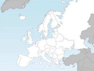 Europakarte mit Landesgrenzen (ohne Hauptstädte) - Europakarte, politische Europakarte, Europa, Karte, politisch