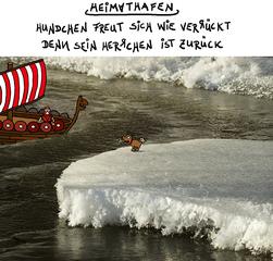 Bildgedicht: Heimathafen - Hund, Freude, Heimat, Gebell, freuen, Eis, Eisscholle, Eisberg, Wikinger, Nordmann, nach Hause kommen, zurück, Rückkehr, Bildgedicht, Gedicht, Wikingerzeit, nordisch, Wikingerschiff, Wikingerboot, Mittelalter