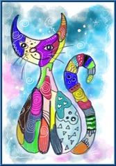 Katzen im Stil von Rosina Wachtmeister - Katzen, Rosina Wachtmeister, bunt, Filzstifte