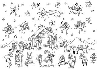 Krippenlandschaft - Maria, Josef, Jungfrau, Jesus, Jesu, Geburt, Weihnachten, Esel, Schafe, Schaf, Hirten, Stern, Bethlehem, Heilige Drei Könige, Weisen, Ausmalbild, Comic, Wimmelbild, Gottes Sohn, Engel, Stern, Sternschnuppe