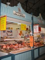 Fleisch- und Wurstverkaufsstand - Beruf, Arbeit, arbeiten, verkaufen, Ernährung, essen, Fleisch, Wurst, finnisch