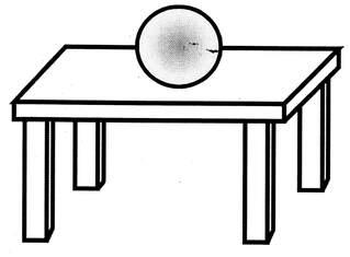 Lagebegriff 'oben' - oben, auf, Lagebegriffe, Tisch, Ball, der Ball liegt auf dem Tisch