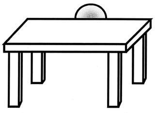 Lagebegriff 'hinter' - hinter, hinten, dahinter, Lagebegriffe, Ball Tisch, der Ball liegt hinter dem Tisch