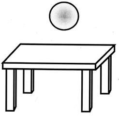 Lagebegriff 'über' - über, Lagebegriffe, Tisch, Ball, der Ball ist über dem Tisch