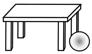 Lagebegriff 'rechts neben' - neben, rechts neben, rechts, Lagebegriffe, Ball, Tisch, der Ball ist rechts neben dem Tisch