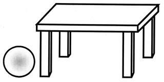 Lagebegriff 'links neben' - neben, links neben, links, Lagebegriffe, Ball, Tisch, der Ball liegt links neben dem Tisch