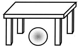 Lagebegriff 'unten' - unten, Lagebegriffe, Ball, Tisch, der Ball liegt unter dem Tisch