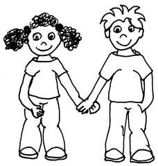 Geschwister/Freunde - Geschwister, Familie, Kinder, Junge, Mädchen, befreundet, Verwandtschaft, Verwandtschaftsverhältnis, Freunde, soziale Beziehung, Sympathie