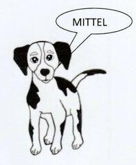 Symbol für mittelschwere Aufgaben - mittel, mittelschwer, Differenzierung, Hund