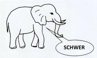 Symbol für schwierigere Aufgaben - schwer, schwierig, Elefant, Differenzierung