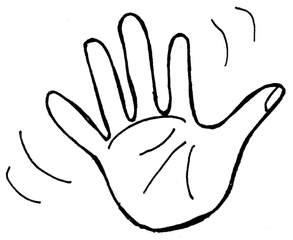 winken - winken, Hand, Kommunikation, Abschied, Anlaut H, Verb, Illustration, wave, clipart