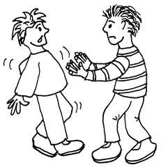 schubsen - schubsen, stoßen, anrempeln, streiten, Gewalt, Kommunikation, Konflikte, anlaut sch