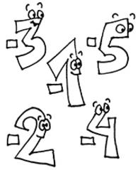 negative Zahlen - negative, Zahlen, negativ, Minus, Zahlenraum, Zahlenraumerweiterung, ganze, Zahlenstrahl, Mathe, Comic, comicesk, Ausmalbild, ausmalen
