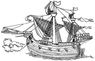 Magellans Schiff - Ferdinand, Magellan, Entdecker, Segler, Eroberer, Neuzeit, Mittelalter, Seeweg, Weltumsegler, Weltumrundung, Segelschiff, Portugal, portogiesisch, Victoria, Ausmalbild, Illustration
