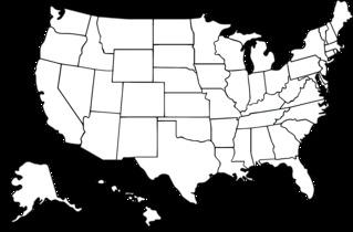 Karte der USA, politisch, weiß und transparent - USA, Grenzen, Staatsgrenzen, Hawaii, Alaska