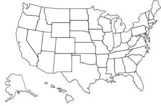 Karte der USA, politisch (weiß) - USA, Grenzen, Staatsgrenzen, Hawaii, Alaska