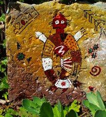 Schildkröte - Rock Painting, Indianer Zeichnung, Erdfarben