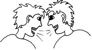 streiten - streiten, sich anschreien, Kommunikationsform, Konflikt, Zwist, Zwistigkeit, Zwietracht, Meinungsverschiedenheit