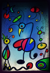 Malen wie Miró - Farbverlauf, gemometrische Formen, Fantasie, Miró, Vorlagenbild
