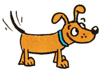 Hund - Hund, Comic, comicesk, Illustration, Erzählanlass, Anlaut H, Tier, Tiere, Tiergeschichte, Freude, wedeln