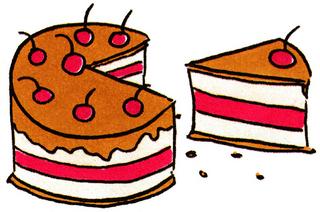 Torte - Torte, Tortenstück, Kuchen, Illustration, Schreibanlass, Redeanlass, Erzählanlass, Anlaut T, Kirsche, Comic