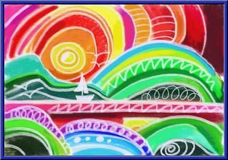 Malen wie Ted Harrison - bunt, Wasserfarben, Deckweiß, Landschaft