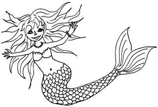 Nixe - Nixe, Wörter mit Xx, Meerjungfrau, Märchenwesen, Fantasiegestalt, Wasser, Märchen, Sage, Meer, Seejungfrau, Illustration, Anlaut N