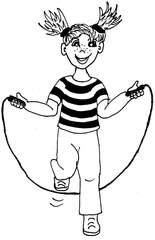 Seil springen - Seil springen, Springseil, Sportart, Sport, Freizeit, Freizeitbeschäftigung, Spiel, Anlaut S/sp