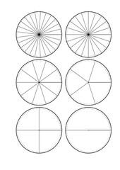 Kreissegmente - Bruchrechnung - Bruchrechnung, Kreissegment, Segment, Kreis, Hälfte, Viertel, Fünftel, Zehntel, Zwanzigstel, Fünfundzwanzigstel