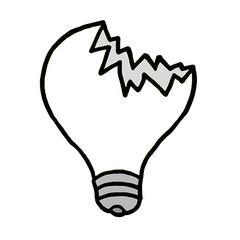 Glühbirne (kaputt) - Erzählanlass, Leuchtmittel, Glühbirne, Elektrizität, Glühlampe, defekt, kaputt, Glas, Schreibanlass, Mülltrennung, Recycling, Müll, Recyclinghof, Mülldeponie, Deponie, Illustration, Comic, Cartoon